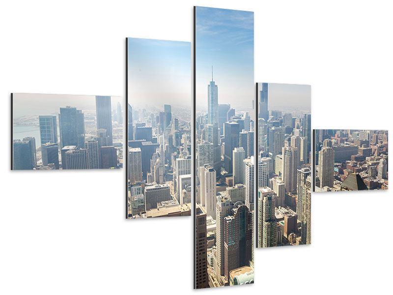 Aluminiumbild 5-teilig modern Wolkenkratzer Chicago