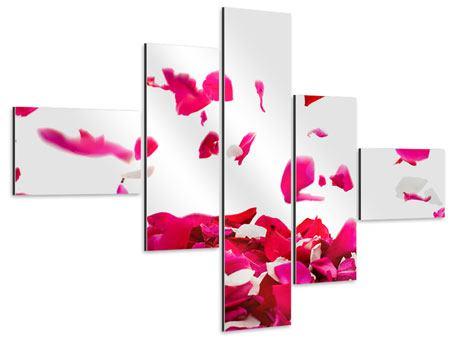 Aluminiumbild 5-teilig modern Für mich soll`s rote Rosen regnen