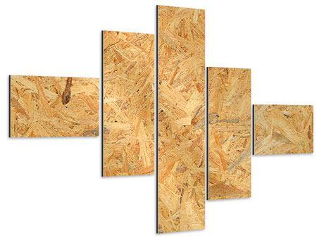 Aluminiumbild 5-teilig modern Gepresstes Holz