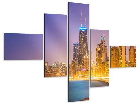 Aluminiumbild 5-teilig modern Skyline Chicago in der Nacht