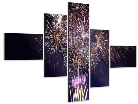 Aluminiumbild 5-teilig modern Feuerwerk