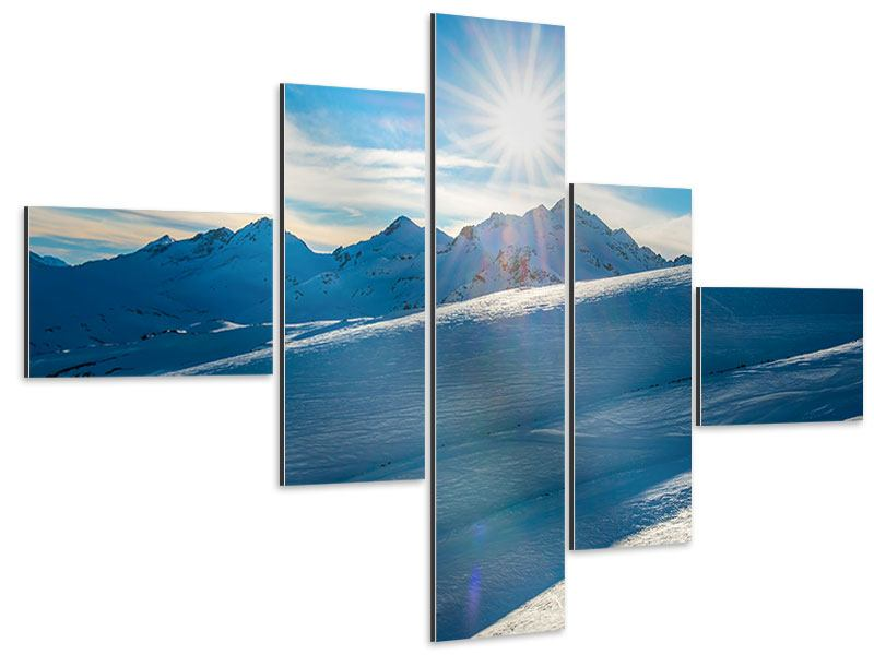 Aluminiumbild 5-teilig modern Ein Wintermärchen in den Bergen