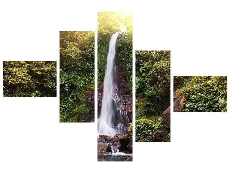 Aluminiumbild 5-teilig modern Wasserfall Bali