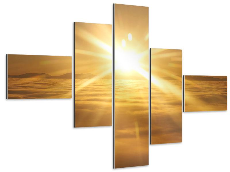 Aluminiumbild 5-teilig modern Über dem Wolkenmeer