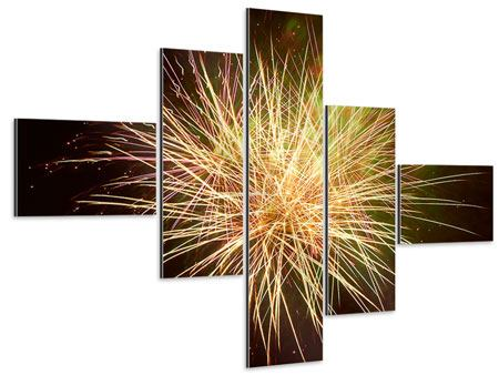 Aluminiumbild 5-teilig modern Feuerwerk XXL