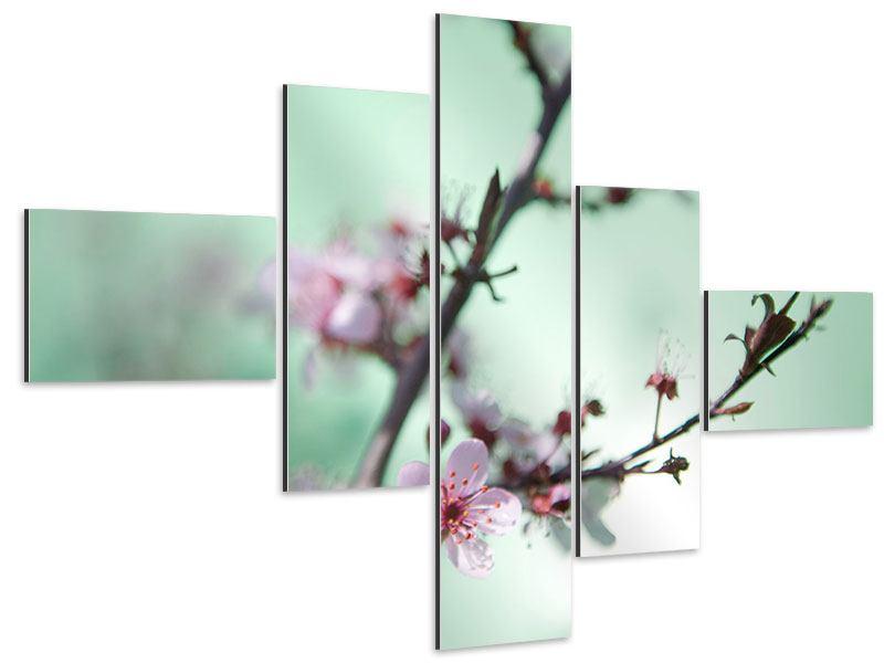 Aluminiumbild 5-teilig modern Die japanische Kirschblüte