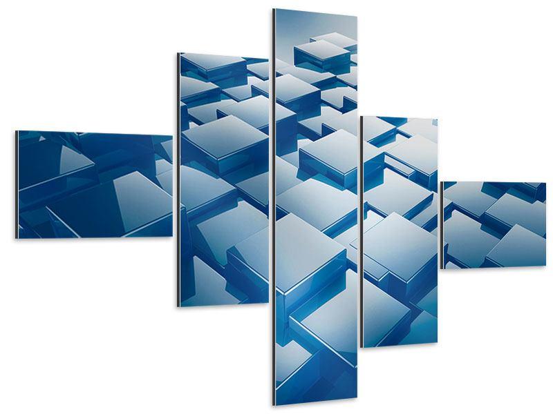 Aluminiumbild 5-teilig modern 3D-Cubes