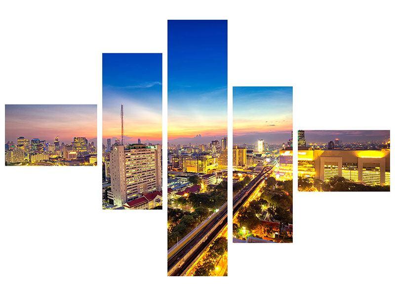Aluminiumbild 5-teilig modern Bangkok