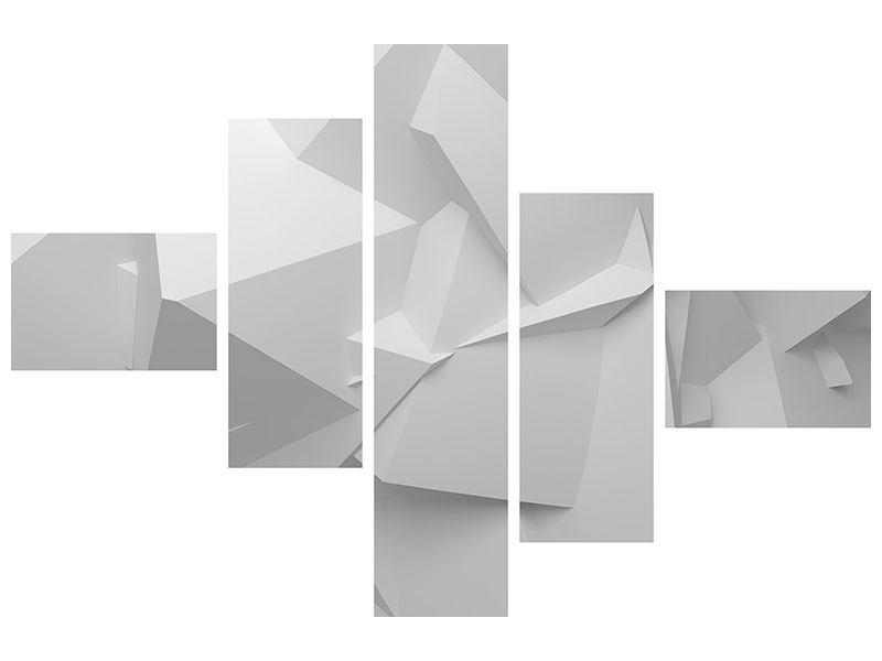 Aluminiumbild 5-teilig modern 3D-Raster