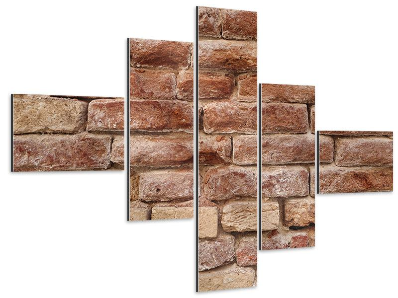 Aluminiumbild 5-teilig modern Loft-Mauer