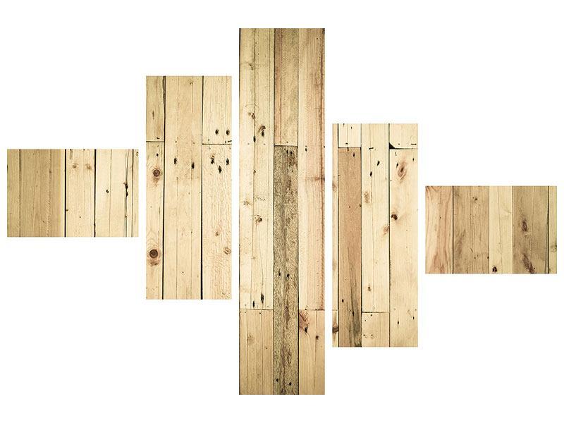 Aluminiumbild 5-teilig modern Holzpaneelen