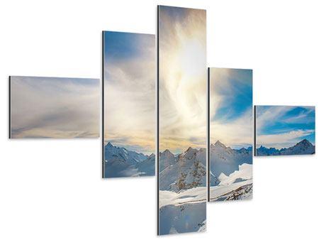 Aluminiumbild 5-teilig modern Über den verschneiten Gipfeln