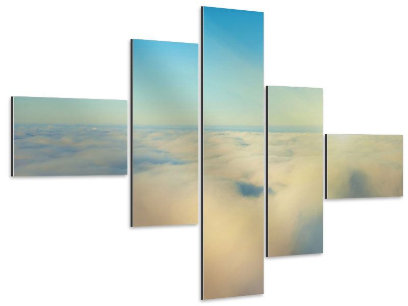 Aluminiumbild 5-teilig modern Dämmerung über den Wolken