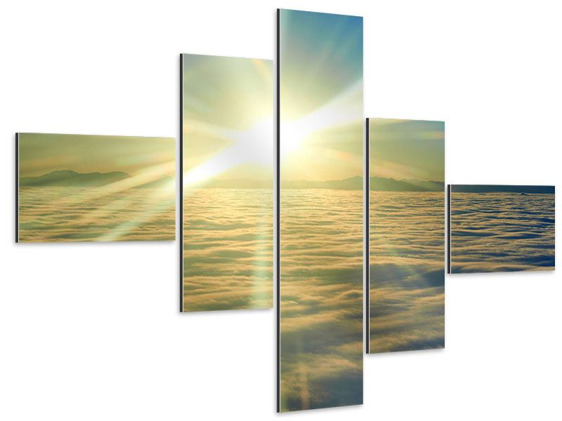 Aluminiumbild 5-teilig modern Sonnenaufgang über den Wolken