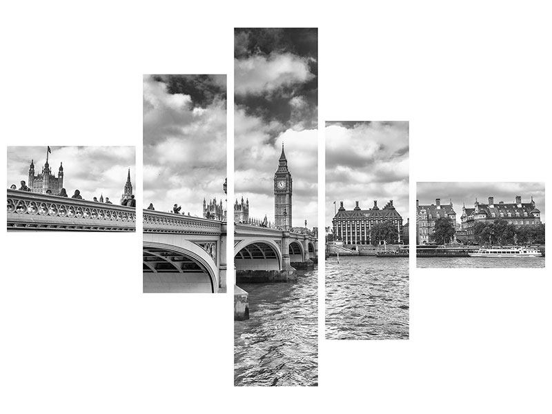 Aluminiumbild 5-teilig modern Westminster Bridge