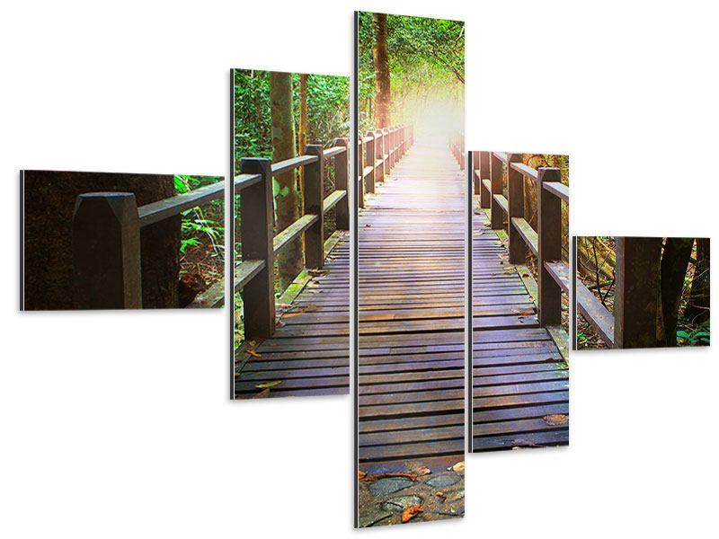 Aluminiumbild 5-teilig modern Die Brücke im Wald