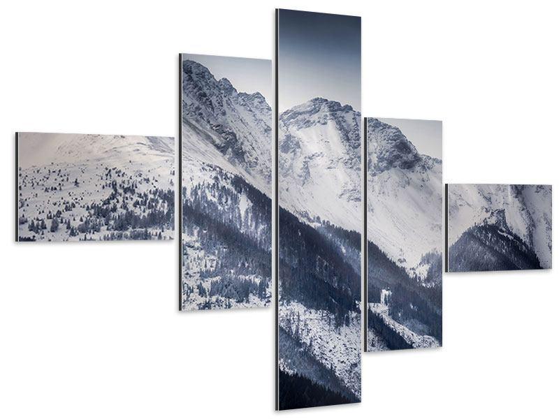Aluminiumbild 5-teilig modern Die Berge der Schweiz