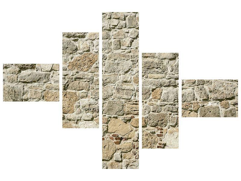 Aluminiumbild 5-teilig modern Naturmauer