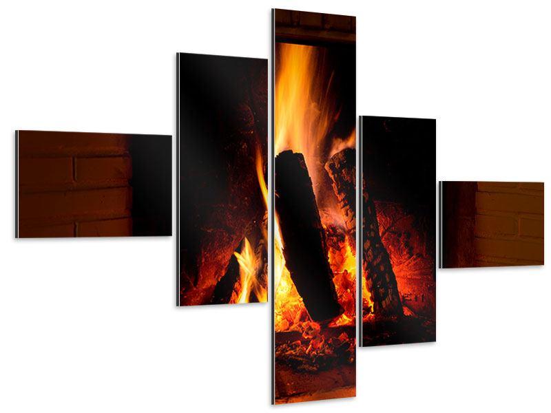 Aluminiumbild 5-teilig modern Feuer im Kamin