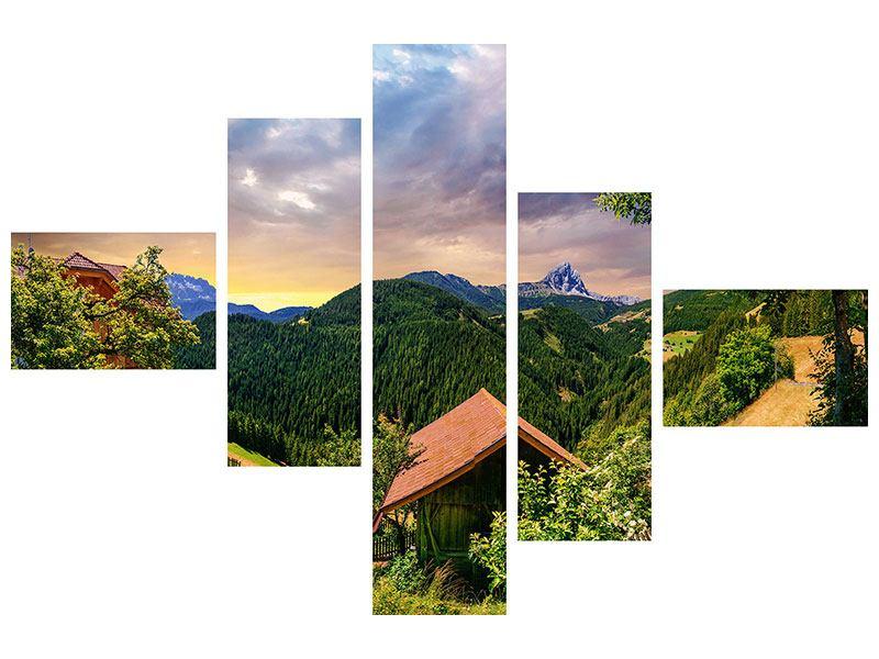 Aluminiumbild 5-teilig modern Schweizer Berge im Sommer