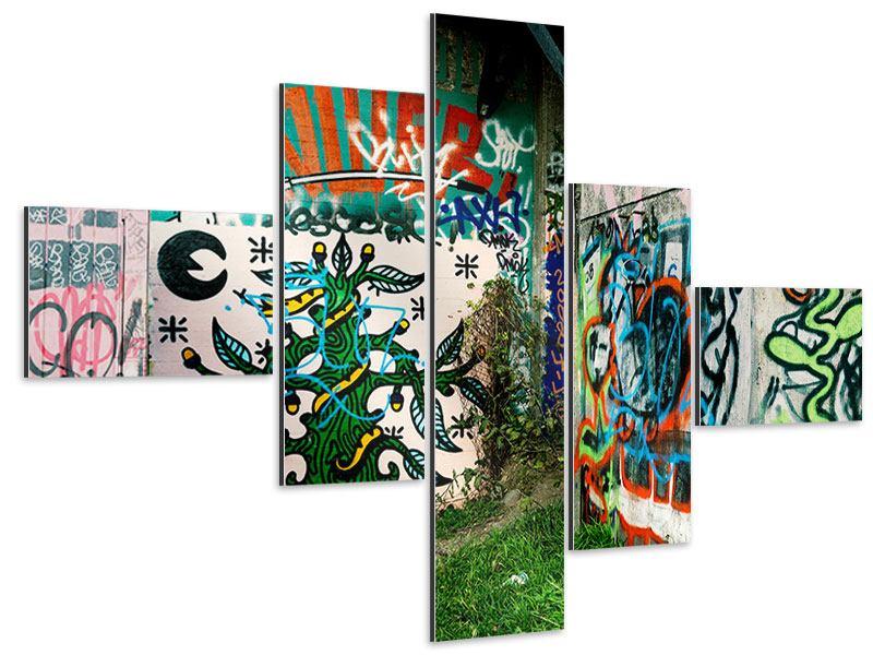 Aluminiumbild 5-teilig modern Graffiti im Hinterhof