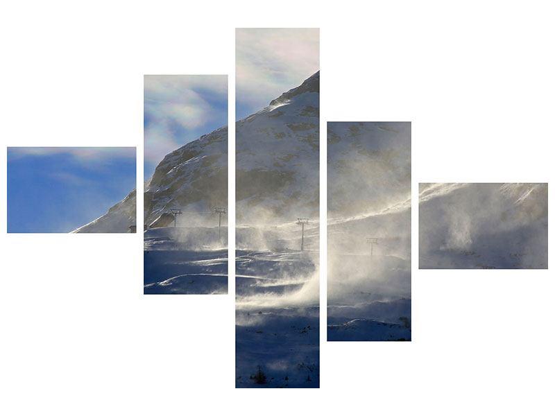 Aluminiumbild 5-teilig modern Mit Schneeverwehungen den Berg in Szene gesetzt