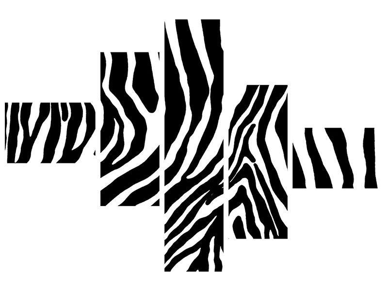 Aluminiumbild 5-teilig modern Zebramuster