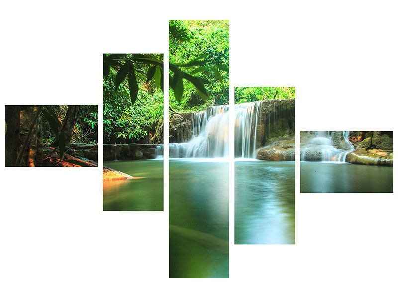 Aluminiumbild 5-teilig modern Element Wasser