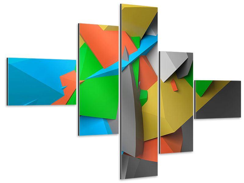 Aluminiumbild 5-teilig modern 3D-Geometrische Figuren