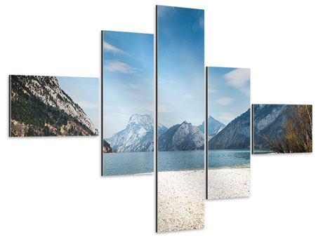 Aluminiumbild 5-teilig modern Der idyllische Bergsee