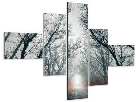 Aluminiumbild 5-teilig modern Mysteriöse Stimmung im Wald