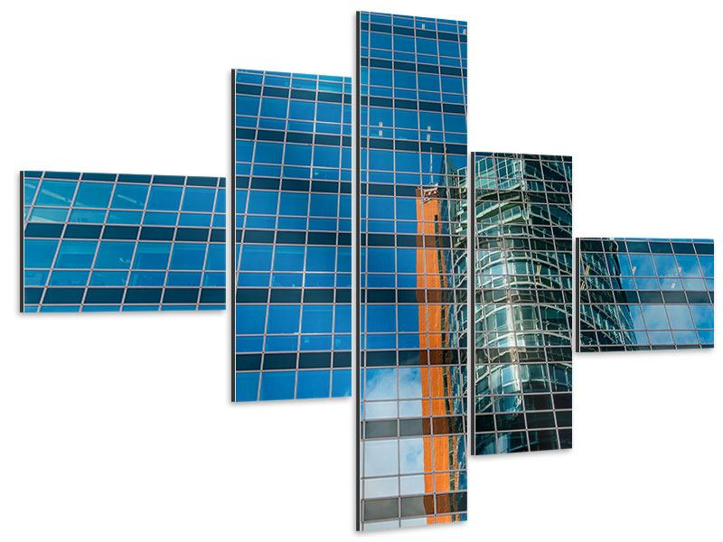 Aluminiumbild 5-teilig modern Wolkenkratzer-Spiegel