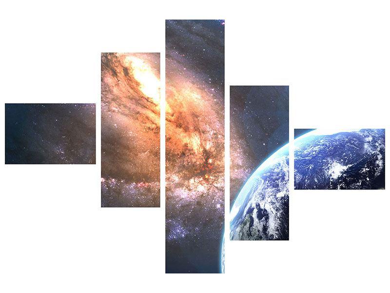 Aluminiumbild 5-teilig modern Universus