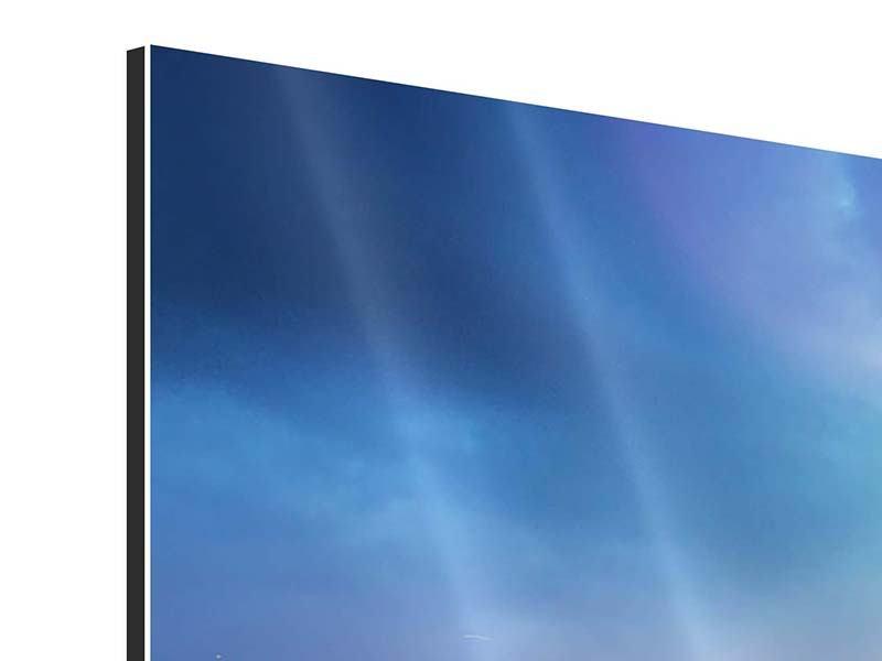 Aluminiumbild 5-teilig modern Skyline NY bei Sonnenuntergang