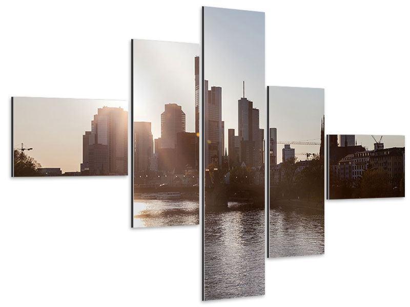Aluminiumbild 5-teilig modern Skyline Sonnenaufgang bei Frankfurt am Main