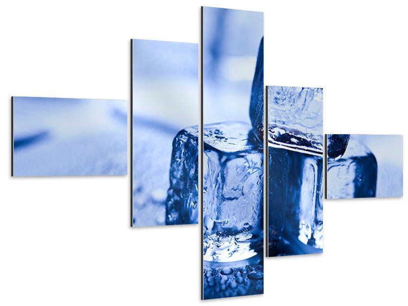 Aluminiumbild 5-teilig modern Eiswürfel