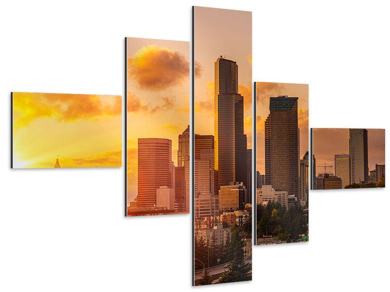 Aluminiumbild 5-teilig modern Skyline Washington