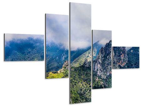 Aluminiumbild 5-teilig modern Der stille Berg