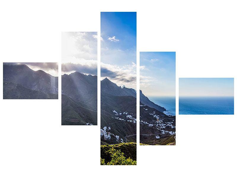 Aluminiumbild 5-teilig modern Der Frühling in den Bergen