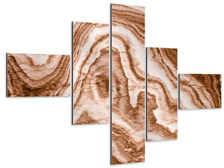 Aluminiumbild 5-teilig modern Marmor in Sepia