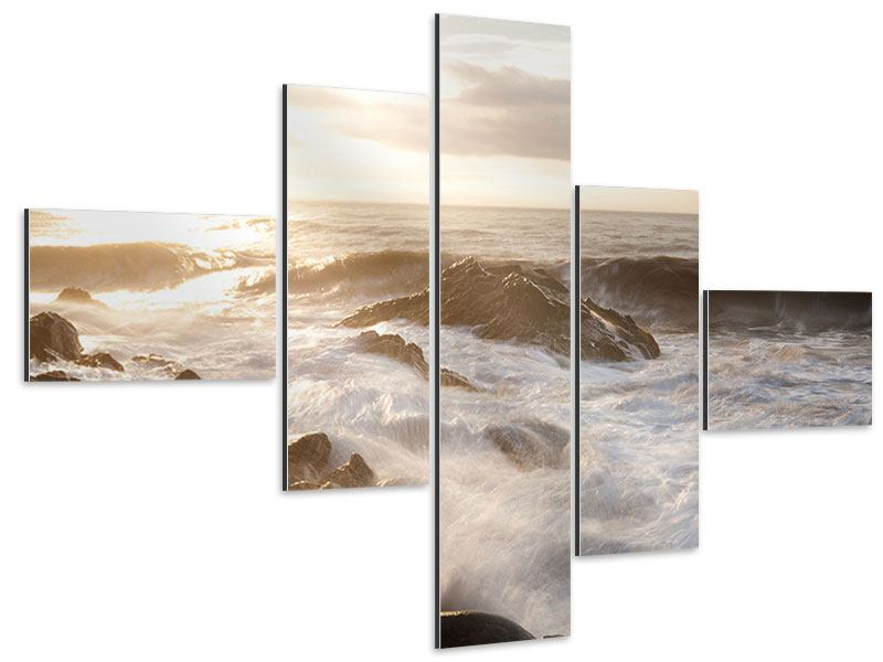 Aluminiumbild 5-teilig modern Meeresbrandung