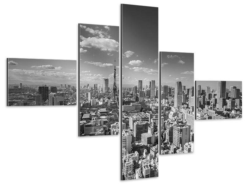 Aluminiumbild 5-teilig modern Tokio