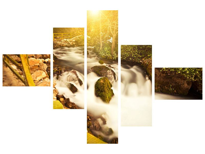 Aluminiumbild 5-teilig modern Sonnenuntergang am Wasserfall