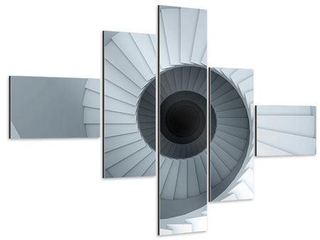 Aluminiumbild 5-teilig modern 3D Wendeltreppe