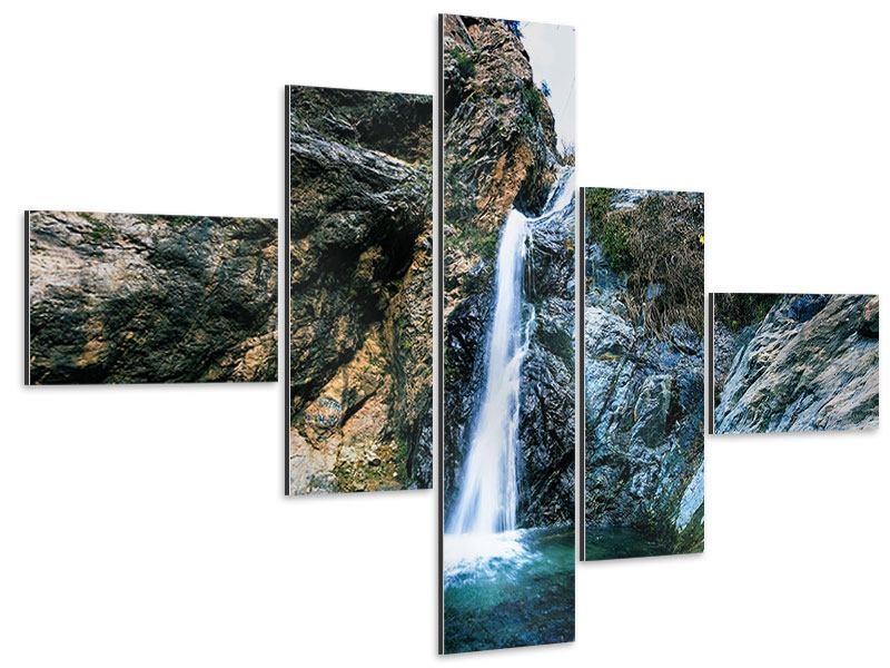 Aluminiumbild 5-teilig modern Bewegtes Wasser