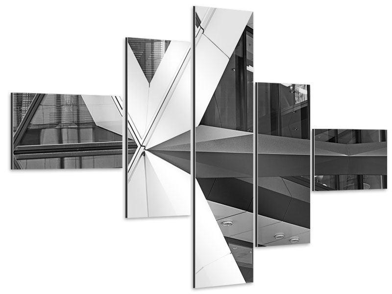 Aluminiumbild 5-teilig modern Teil eines Wolkenkratzers