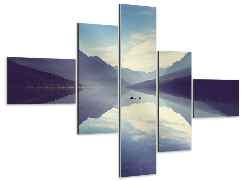 Aluminiumbild 5-teilig modern Bergspiegelung