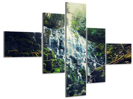 Aluminiumbild 5-teilig modern Feng Shui & Wasserfall