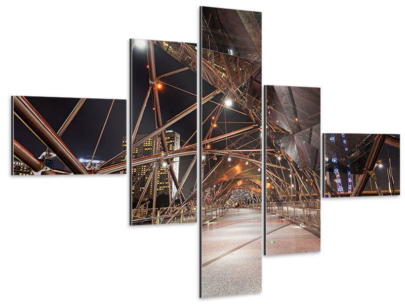 Aluminiumbild 5-teilig modern Brückenlichter