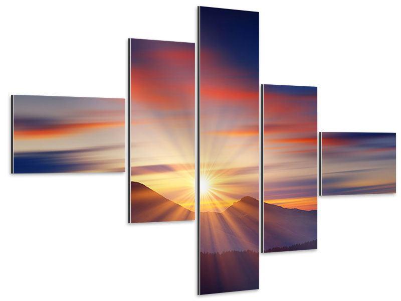 Aluminiumbild 5-teilig modern Märchenhafte Landschaft